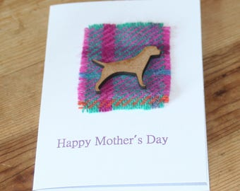 Tweed, tartan and wooden Border terrier, dog Mother's Day Card. Card for mum, Children's mothers's Day Card - Card For Mother's's Day