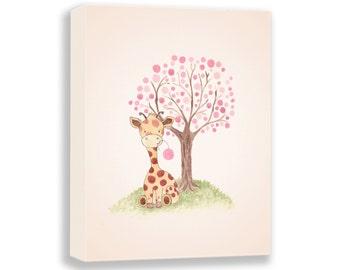 Giraffe Illustration - Canvas Nursery Art - PRINT - Baby Girl - Watercolor PRINT - Girl Nursery Decor - Art for Children - G502