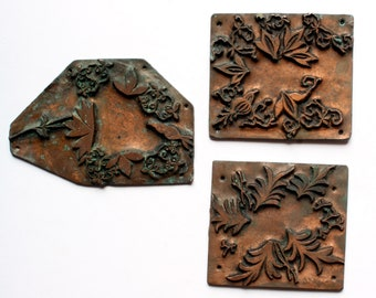 FOLIAGE 1903-1928 UNMOUNTED Antique Copper Letterpress Cut printing plate Leaves Plants Ivy
