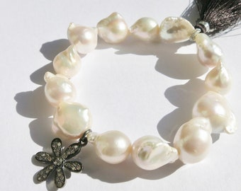 White Baroque Pearl Bracelet, Huge Baroque Pearl stacking bracelet, Pave Diamond Flower Pearl Bracelet, Graduation Gift, Yoga Beach Chic
