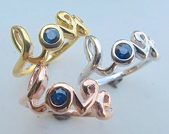 Love Ring Sapphire Ring Rose Gold Ring