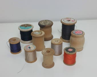 Vintage Wooden Spools with Thread Lot 10 Piece Wood Spool Lot