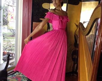 Pink Taffeta Gown Micro Pleats Ada Athanassiou