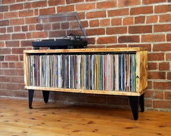 Industrial vinyl unit - Handmade from solid Redwood Pine