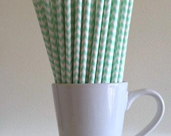 Mint Green Chevron Paper Straws Party Supplies Party Decor Bar Cart Cake Pop Sticks Mason Jar Straws  Party Graduation