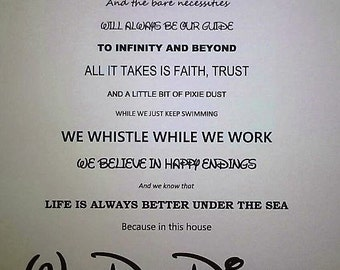 In this house We do Disney Print, Disney family print, Disney quote's print.
