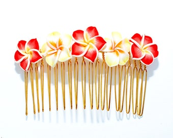Hawaiian Plumeria Decorative Hair Comb Yellow and Red