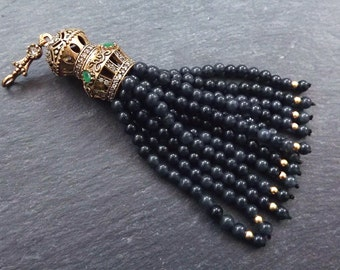 Large Long Deep Gray Jade Stone Beaded Tassel with Green Clear Crystal Accents - Antique Bronze - 1PC