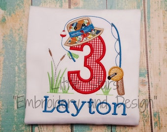 Fishing Theme Birthday Shirt - Personalized and Appliqued - You Choose Number 1-9