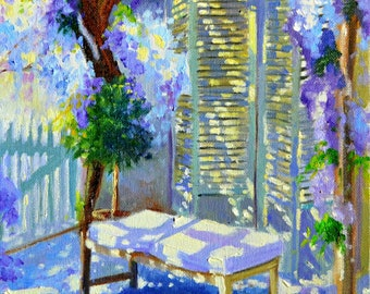 ART PRINT of WISTERIA, blue and purple, French shutters, sunlit veranda