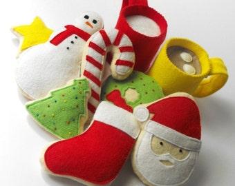 Felt Food Pattern- Christmas Cookies, Hot Cocoa and Milk (Santa, Wreath, Tree, Candy Cane, Snowman, Star, Stocking, Cocoa and Milk Mug)