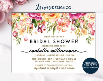 Instant Digital Download File PDf |Bridal Shower Invitation | Watercolor bridal shower invite | floral bridal shower invite