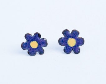 Purple Flower Earrings with Yellow Center, Rustic Chic Copper Enamel Studs, Artisan Metalsmith Hand Cut Organic Bohemian Floral Design
