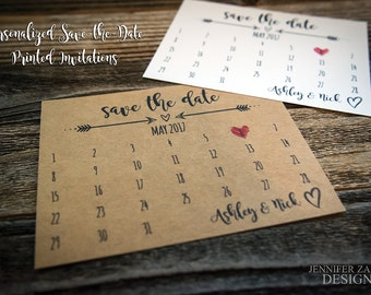 Rustic Wedding Save the Date Calendar Cards. Personalized Wedding Card. Simple Save the Date. Personalized Wedding Save the Dates.