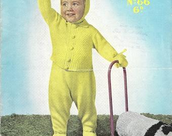 Sirdar Sunshine 66 Vintage Original Knitting Pattern Toddler Suit with Leggings, Cardigan, Mittens and Bonnet