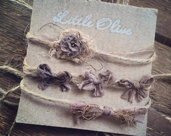 Taupe Love Set  of 3 Headbands/ Tiebacks Newborn Photography Prop  headbands