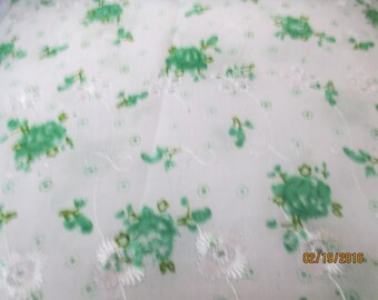 Mint floral printed eyelet fabric