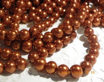 50 glass pearl beads 8 mm with a beautiful orange