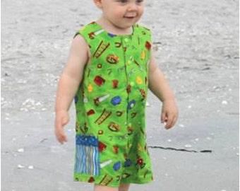 B oy Sunsuit - Summer Romper - Toddler Boy Romper, Jon Jon PDF Pattern, One Piece Romper, Boy's Clothing, Easy Sewing Pattern