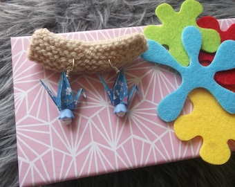 Origami crane, blue, green earrings, orange day special moms