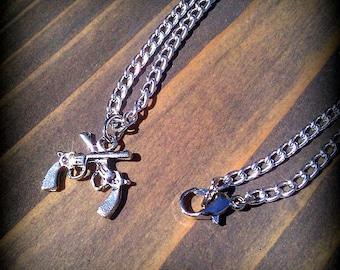 Double Pistol Charm Necklace
