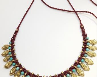 Ethnic Necklace, Tribal chocker, Macrame Necklace, Indian Jewelry, Boho Necklace, Spiky Necklace, Ethnic Jewelry, Goddess Necklace, Festival