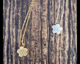 Flower Heart Sun Dainty Necklaces Handcrafted Hammered Charm Necklace  22K Gold Sterling Silver Daisy Necklace 