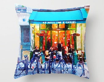 Paris Spring Watercolor Pillow Cover. Blue Cafe with Bicycles Painting, Paris Pillow, Pretty Colorful Watercolor Pillow, Paris Painting,