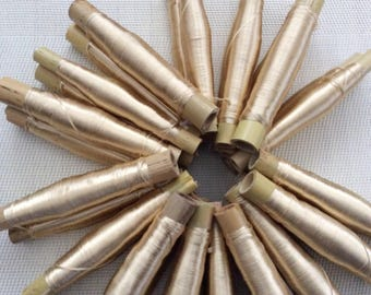 X 2 color Golden Beige silk thread spools
