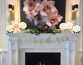 Glitter 'she said yes' Banner for Bridal Shower, Engagement or Bachelorette Party
