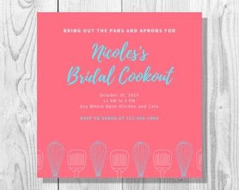 Pink and Blue Cookout Bridal Shower Invitation - Printable