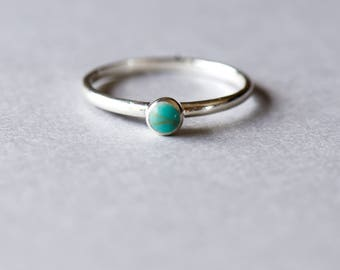 Mini Turquoise Ring, Solitaire Ring, 925 Sterling Silver, Rose and Choc, Gift For Her, Stacking Ring, Dainty Ring