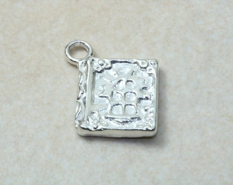 Book of Spells charm, solid sterling silver charm. Perfect as necklace or on charm bracelet. Magic and Wizardry charms