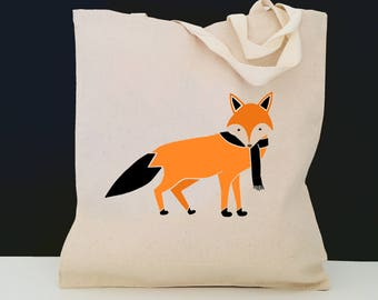 Personalized Fox Tote Bag (FREE SHIPPING), 100% Cotton Canvas Fox Tote Bag, Fox Tote Bag, Fox Totes, Fox, Fox Gift, Fox with Scarf Tote Bag