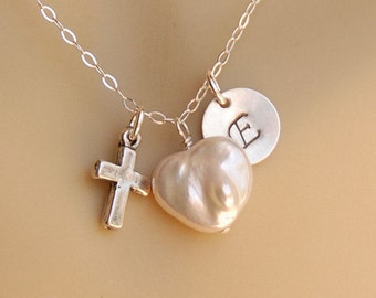 Personalized Flower Girl Necklace with Cross and Heart Pearl, First Communion Gift, Cross & Pearl in Sterling -The Pure Heart Faith Necklace