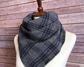 Gray and Blue Scarf, Cozy Flannel Scarf, Plaid Flannel Blanket Scarf, Flannel Scarf, Blanket Scarf, Gift for Her, Plaid Scarf, READY TO SHIP
