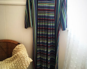60s Style Vertical Striped Duchess Brand Housecoat Size Small