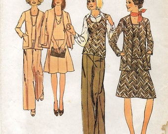 A Flared A-Line Elastic Waist Skirt & Straight Leg Pants, Sleeveless Top and Cardigan Pattern for Women: Uncut - Size 10 • Simplicity 6609