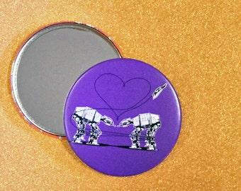 3.5 Inch Giant AT-AT Mirror - Purple, Star Wars Mirror, Star Wars Gift, Star Wars Party, Pocket Mirror, Compact Mirror, Hand Mirror