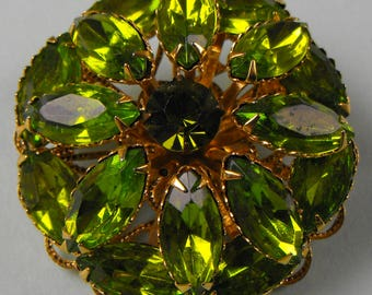 Lime Green Prong Set Navettes Flower Brooch