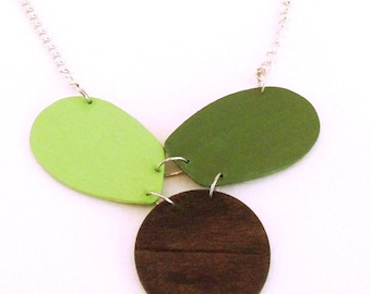 Modern geometric wooden necklace-in apple green olive green and brown color- modern, minimalist, contemporary handmade jewelry- eco friendly