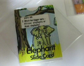 Vintage CJ Cracker Jack Elephant Slide Card Prize Premium Toy 1976 id 1395