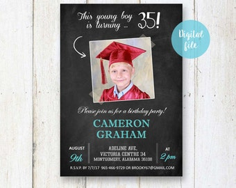 35th Birthday Invitation for men | Chalkboard collage photo invite for him husband brother son daddy dad |  DIGITAL file!