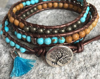 Beaded Leather Wrap Bracelet. Turquoise, Woodgrain Jasper and Pyrite