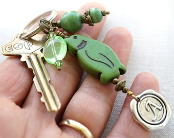 Mothers Day Gift Green Penguin Keychain boyfriend gift Personalized Keychain Animal gift for him Initial Keychain Wax Seal Pet Gift Custom