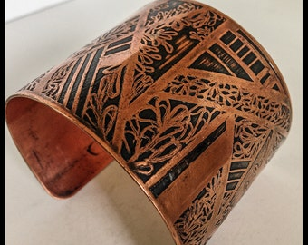 handcrafted art deco inspired,  one-of-kind,  large etched copper cuff bracelet