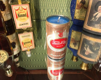 Vintage Falls City Can Candle, Soy Amber and Caramel scent