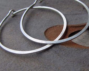 Sterling Silver Hoops, Classic Organic Shape Hoops, Large Silver Hoop Earrings, Sterling Silver Hoop Earrings