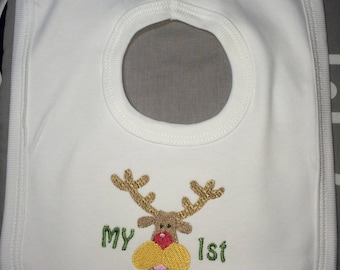 My 1st Christmas, Reindeer Embroidered pullover Bib