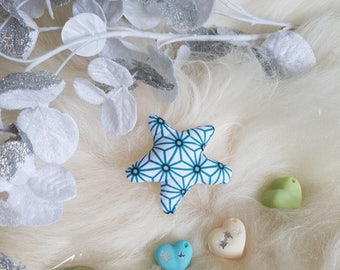 Small fabric Star Blue and white